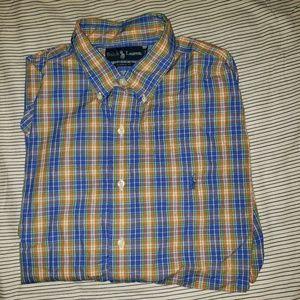 Ralph Lauren Blue Orange Button Down Shirt XL